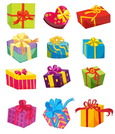 Illustration of presents on white