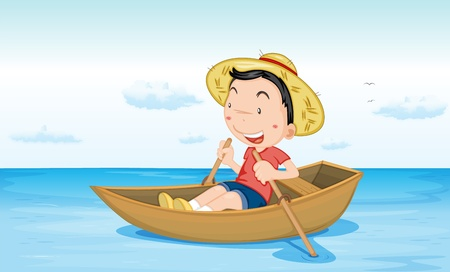 Illustration of a boy in a boat at beach