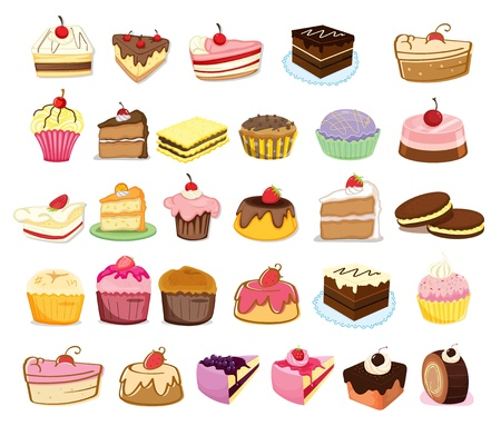Illustration of collection of cakes