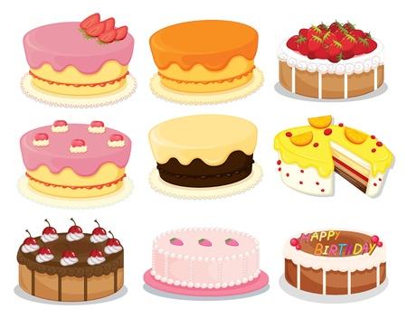 Illustration of many cakes on white