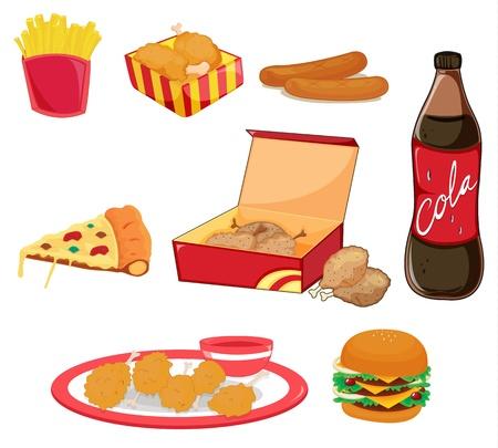 Illustration of junk food on white