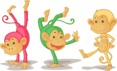 Photo for illustration of three monkeys on white - Royalty Free Image