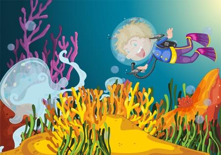 Boy diving observes huge jellyfish