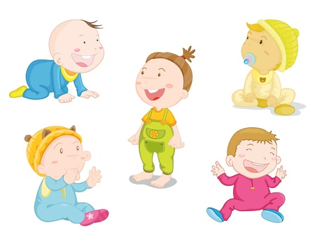 illustration of baby in differnt poses