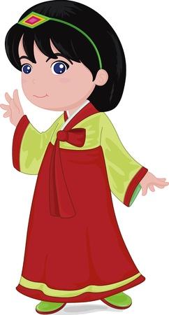 illustration of japanese girl wearing traditional dress