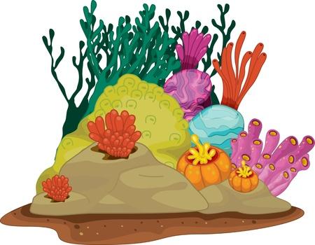 Illustration pour illustration of sea grass under water - image libre de droit