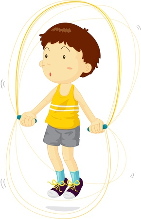 Boy using jump rope to train
