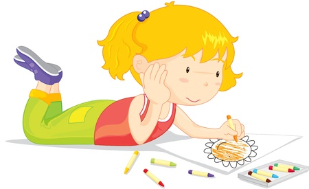 Illustration pour Blonde girl colouring a picture of a flower - image libre de droit