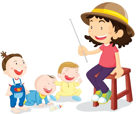 illustration of kids with teacher