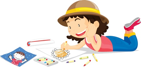 Girl in hat colouring picture of flower