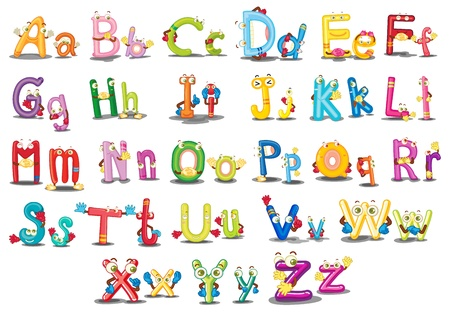 Illustration of Alphabet characters on white