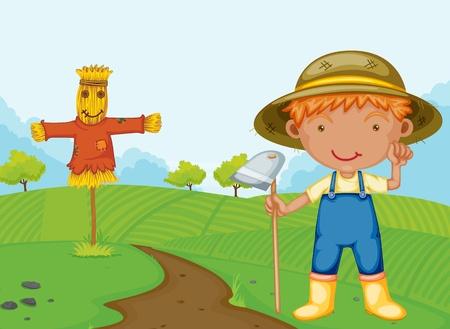 Illustration pour Illustration of a farm boy - image libre de droit