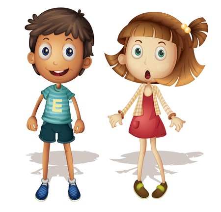 Illustration of a detailed boy and girl