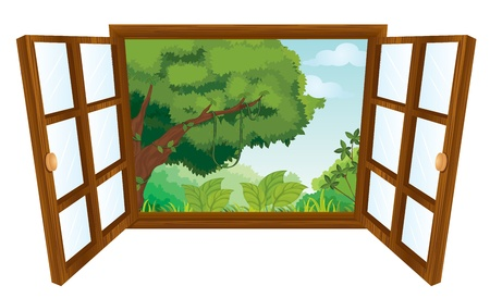 isolated window to nature scene