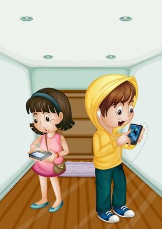 Illustration pour Illustration of kids using mobile technology - image libre de droit