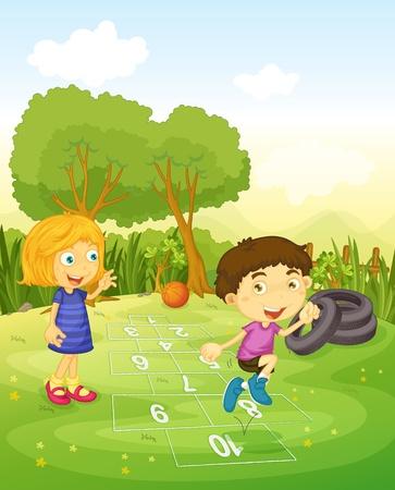 Cartoon of children playing hopscotch