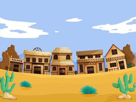 Illustration pour Wild west illustration scene with detail - image libre de droit