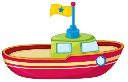 Illustration of a toy boat on white