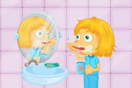 Young girl brishing teeth illustration