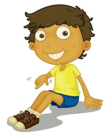 Illustration for Illustration of boy putting shoes on - Royalty Free Image