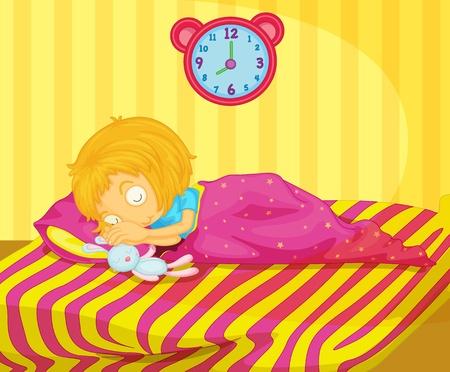 Illustration of cute girl sleeping