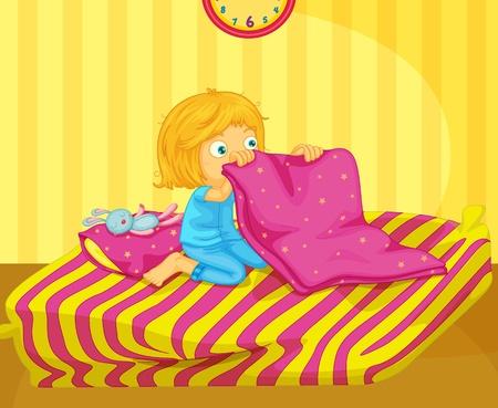 Illustration of recently woken girl