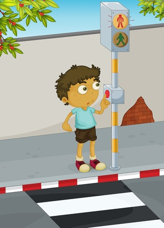 Illustration of boy using a zebra crossing