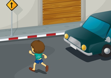Illustration of a boy crossing the road