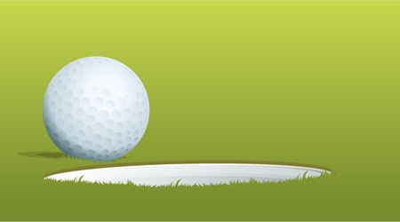 Vektor für Illustration of golf ball near hole - Lizenzfreies Bild