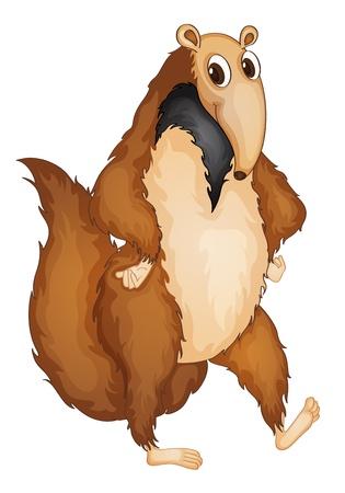 Illustration pour Illustration of a comical anteater - image libre de droit