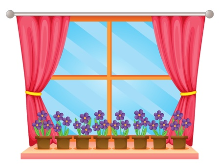 Illustration of a window sill with flowers