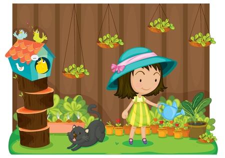 Illustration pour Illustration of a girl watering plants - image libre de droit