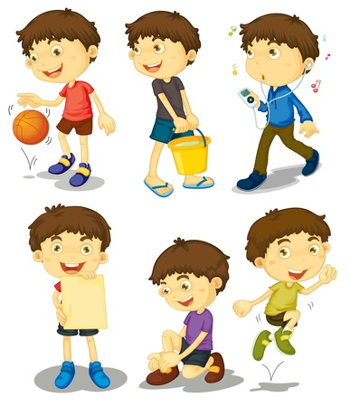 Illustration of boy in different poses