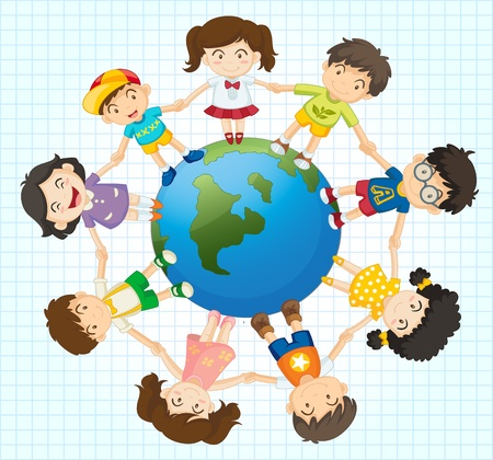 Illustration of kids around the earth