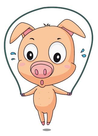 Illustration of a pig skipping