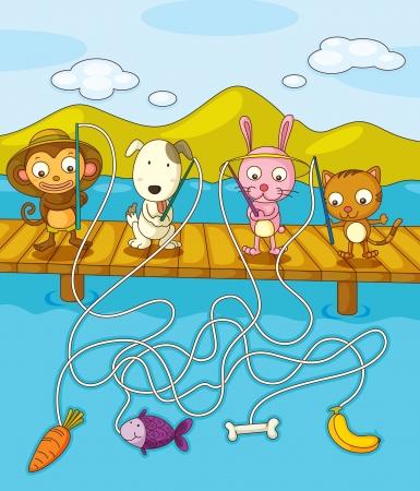 Illustration of animals fishing on pier