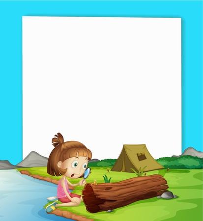 Illustration pour Illustration of camping paper scene - image libre de droit