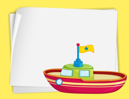Illustration of toy boat and paper