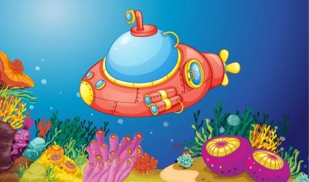 illustration of a submarine underwater