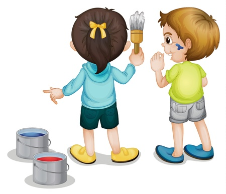 Illustration of two kids painting