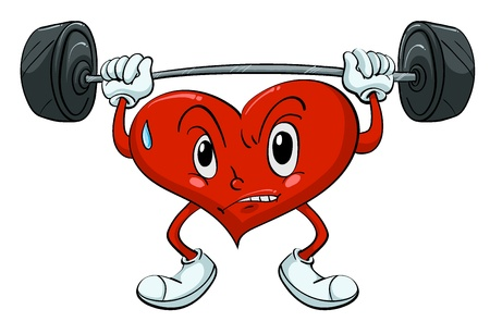 Illustration of a heart lifting weights