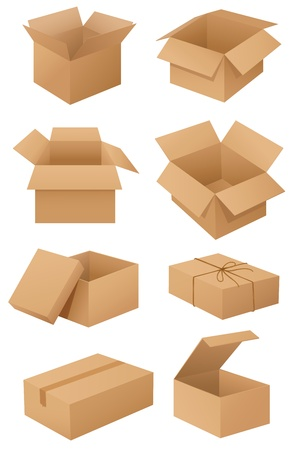 Illustration of cardboard boxes on white