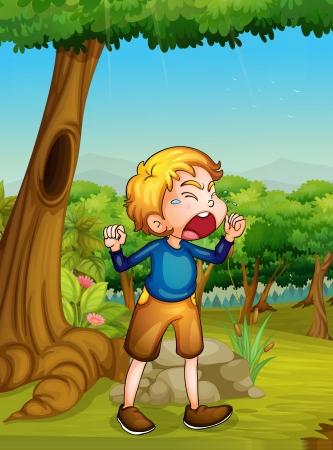 Illustration pour Illustration of a child crying - image libre de droit