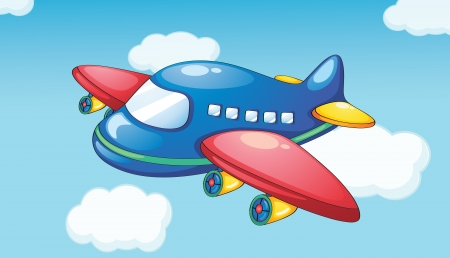 Illustration of a plane in blue sky
