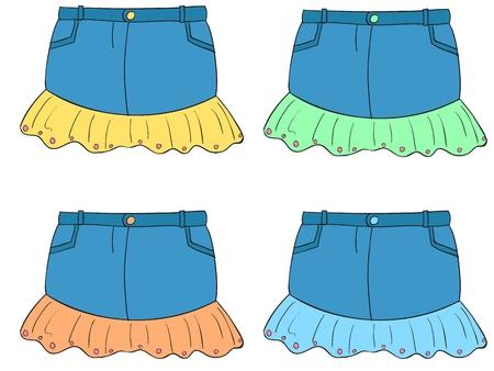 Illustration of clothes in four colors