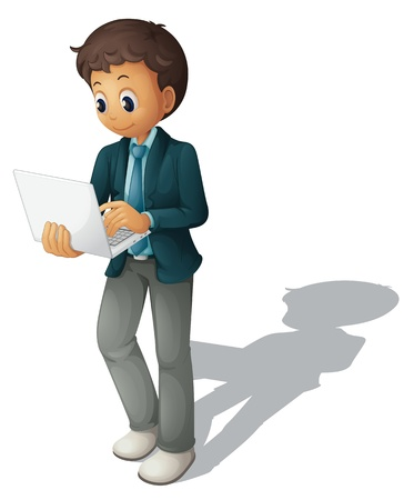 Illustration of a business guy using a computer