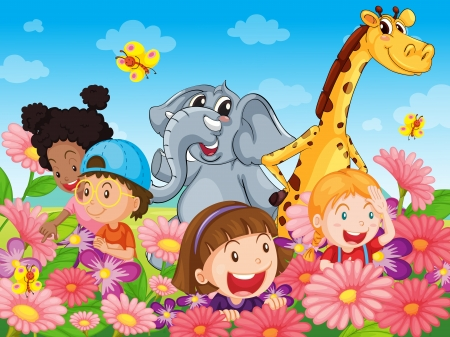Photo for Illustration of kids with animals - Royalty Free Image