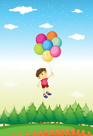 Illustration of a boy floating with balloons