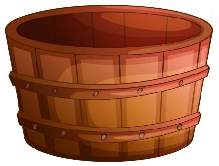 Illustration of an old wooden barrel