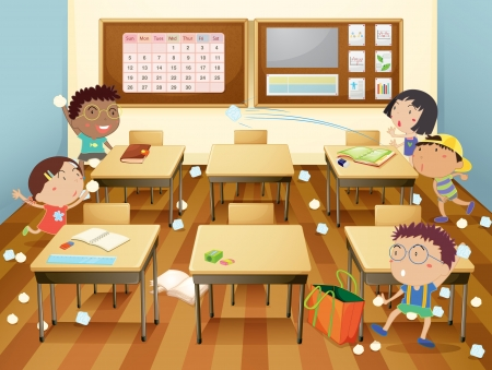 Illustration of kids in a classroom